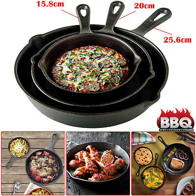 3Pc Cast Iron Non-Stick Frying Pan Set Black Grill Skillet Bbq Fry Cooking Style