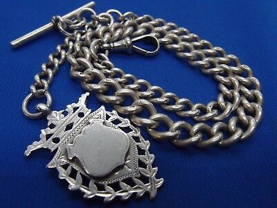 1900 VICTORIAN SILVER ALBERT WATCH CHAIN + WHH 1898 DOUBLE SIDED SILVER FOB 66g
