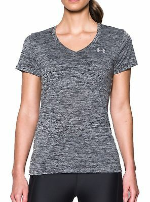 41e663ce4634f6 Under Armour Damen Sport Fitness T-Shirt UA V-Neck Twist Tech schwarz  meliert
