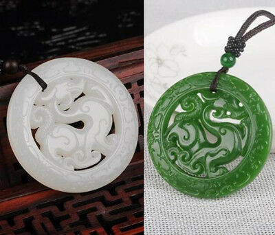 Statue  Amulet Dragon Necklace Pendant Jewelry Natural Green White Jade