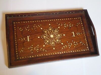 Stunning Antique Style Wooden Inlaid Drinks Tray