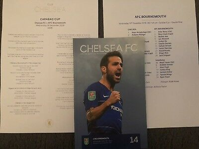 19/12/2018.CHELSEA v AFC BOURNEMOUTH CARABAO CUP PROGRAMME+TEAMSHEET MINT