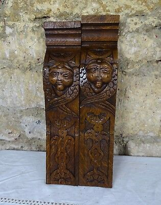 French Antique Pair Oak Carved Wood Corbels Face Decor 19th