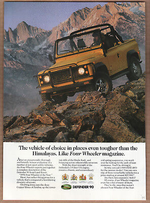 "1994 Land Rover Defender 90 Ad ""The vehicle of choice..."" Print Ad"