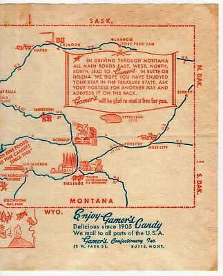 """Vintage """"Gamer's Candy & Restaurants"""" Advertising Placemat [Montana]"""