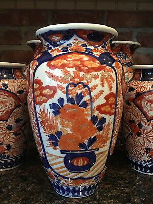 LARGE Antique Imari Porcelain Baluster Vase Japanese Ceramic Red Blue