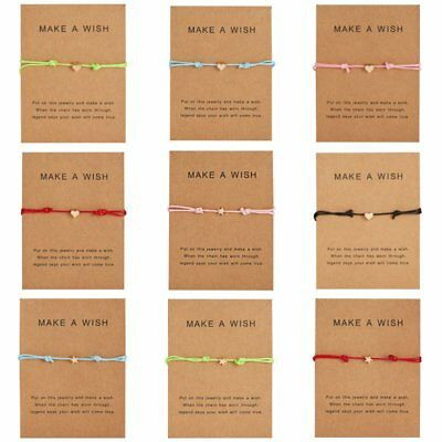 Multicolor Heart Card Bracelet Rope String Jewelry Lucky Gifts Bangle Women Men
