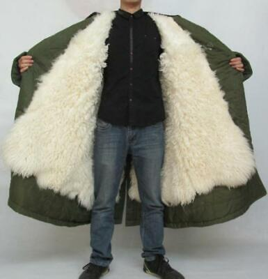 Mens Thick Warm Fur Lined Military Parka Outdoor Working Jacket Coat Full Length