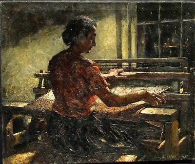 """Lawrence Wilbur """"The Weaver"""" Large Old Impressionist Oil Painting #1 NO RESERVE"""
