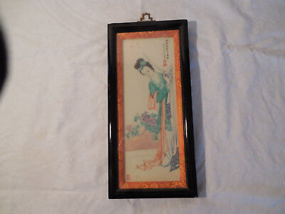 Chinese hand painted tile wall plaque woman peering behind curtain framed