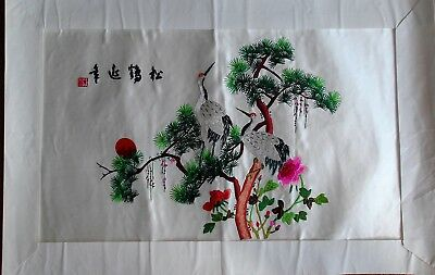 Chinese Silk Emroidery picture of Red Crowned Cranes 67 x 44 cms