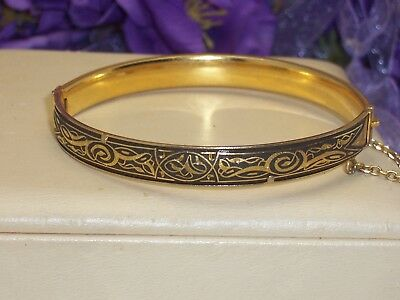 Vintage Damascene Toledo Spain Enamel Hinged Bangle Bracelet Safety Chain