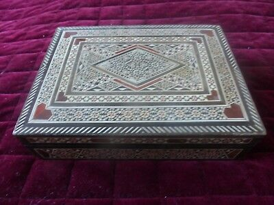 Decorative Inlaid & Lined Middle Eastern Box.