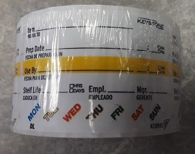 """Keystone Sysco Food Labels 500 ct 2"""" x 3"""" Removable Stickers Large Surface Peel"""