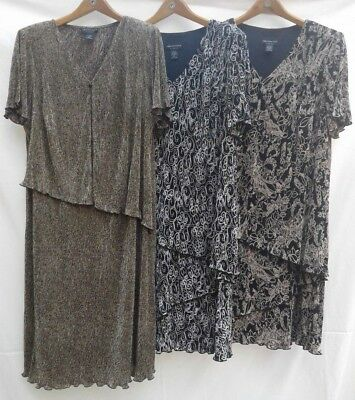 woman Plus DRESSES -22W- CONNECTED black/white/brown/green SS ~lot of 3~ NWOT