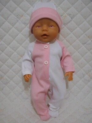 DOLLS CLOTHES to fit 43cm BABY BORN -PRETTY PINK & WHITE BABYGRO & HAT SET