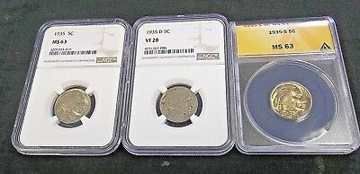 1935-P,d,& S Buffalo Nickel Set Ngc & Anacs     (B31)