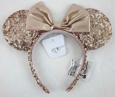 NEW! Authentic Disney Parks Minnie Mouse Rose Gold Champagne Ears WDW Disneyland