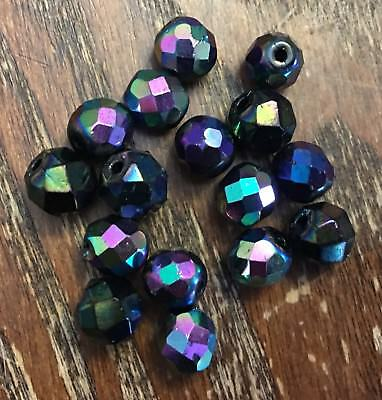 Vintage Black Base Rainbow Oil Slick Carnival Faceted Mixed Glass Bead Lot