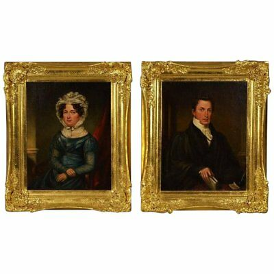 Pair 18th c. Portrait Paintings Husband Wife Oil on Canvas Woman Lady Gentleman