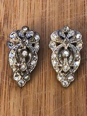 Vintage 1930's Art Deco Rhinestone Dress Clips As Is