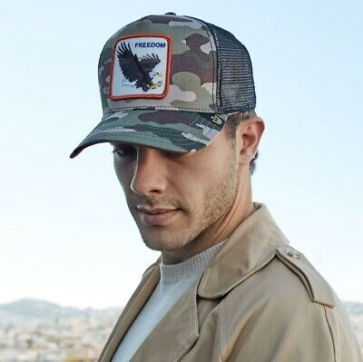 03218a72bbb Goorin Bros. Animal Farm Trucker Baseball Hat Cap Freedom Eagle Camo  Camouflage