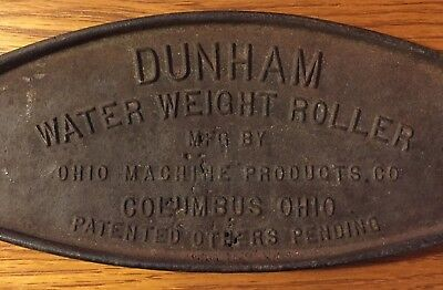 Vintage Antique DUNHAM Water Weight Roller Plaque Cast Iron Plate Columbus, Ohio