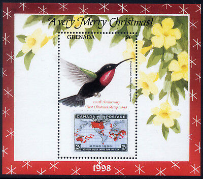 1998 Grenada # 2815 Souvenir Sheet Bird Christmas Stamp on Stamp Canada #85