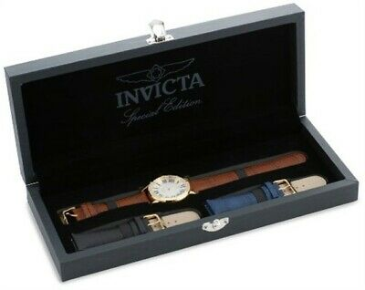Invicta 13971 Men's Silver Dial Gold Steel Interchangeable Leather Strap Watch
