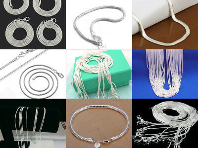 925 sterling solid silver 1-6MM snake chain Men Women necklace 16 - 30 inch