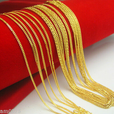 "New Hot Sale Pure 999 24K Yellow Gold Necklace Perfect Curb Link Chain 16.5""L"