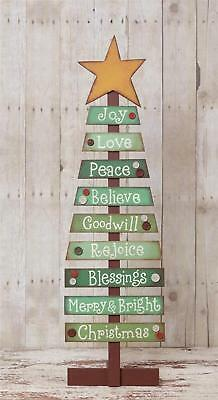 Primitive Country Folk-Art Wooden Slat Christmas Tree With Holiday Sentiments