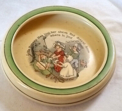 "Antique Baby Bowl LITTLE BO PEEP Dia.6.25"" Ceramic Green Rim, Roseville ? exclnt"