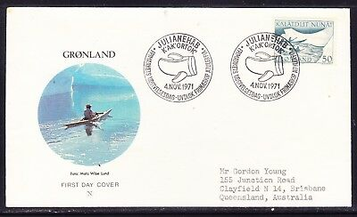 Greenland 1971 Mail Transport Kayaks First Day Cover to  Australia