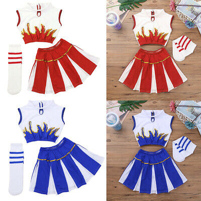 Girls Cheerleader Costume Child Kid Cheer Leader Squad Fancy Dress Dance Outfits