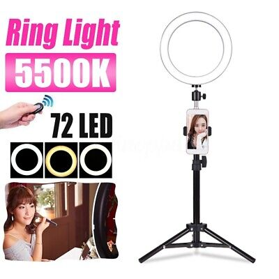 72 LED Ring Light w/ Stand 5500K Dimmable Lighting Kit Makeup Phone Camera