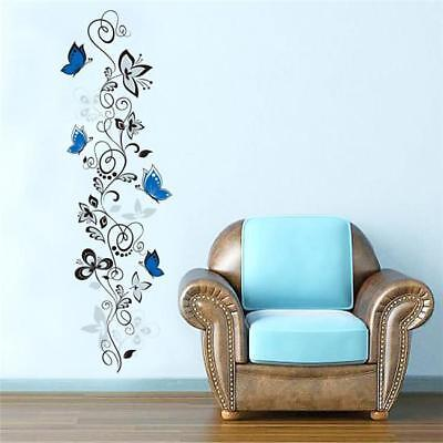 Wall Decals Vinyl Art Stickers Flower Vine&Butterfly Living Room Mural Decor DB