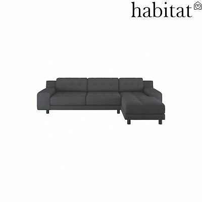 Habitat Hendricks Right-Arm 4 Seater Chaise Sofa Wool - Charcoal