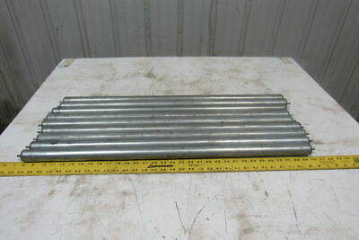 """1.38"""" x 32-1/8""""BF Gravity Conveyor Roller 1/4"""" Pin Axle Lot Of 9"""