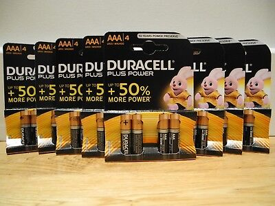 Duracell Plus Power AAA Batteries x 32 (8 packs of 4 ) *Genuine Items*