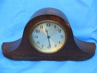 Vintage 8 Day Wind Up Mantle Clock, Oak Case, Platform Escapement, Working.