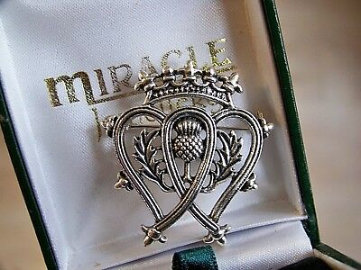Scottish Celtic Luckenbooth 2 Hearts Crown & Thistle Love Token Brooch Shawl Pin