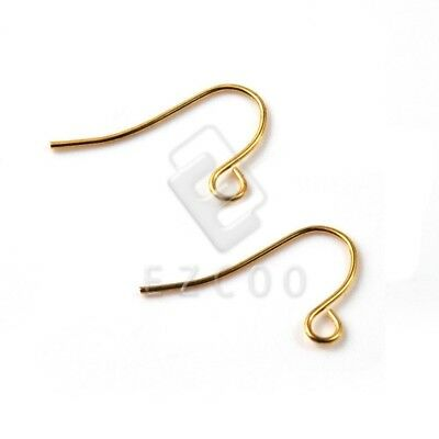 15g 140pcs Iron Ear Hook Wires Crafts Jewelry Earring Findings 21x13mm Gold