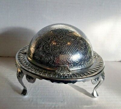 Edwardian Silver Plated Domed Caviar Butter Dish Rogers With Glass Insert Vntge