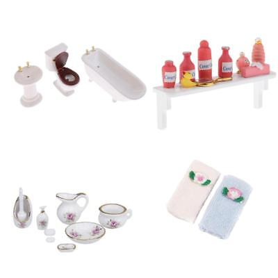 1/12 Dollhouse Miniature Ceramic Bathroom Furniture Supplies Toilet Set Accs