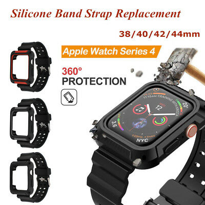 38mm-44mm Silicone Strap Replacement Bumper Case for Apple Watch Series 1 2 3 4