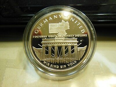 Marshall Islands-1990 Silver $50-Proof German Unification KM#34-See Pics-1oz FS