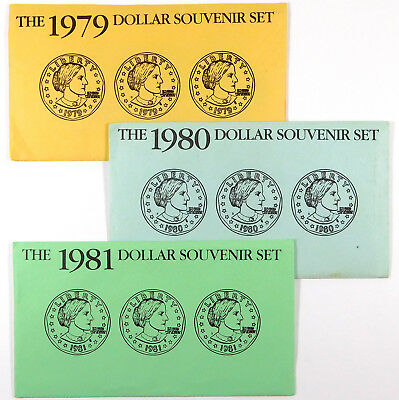 1979, 1980, 1981 Susan B. Anthony Dollar Souvenir Sets- Sealed Pouches