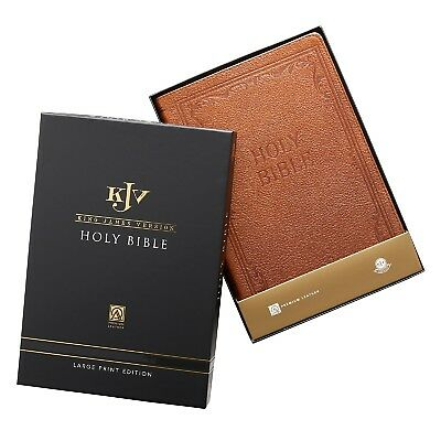 Genuine Leather Tan KJV Bible Thinline Large Print Thumb Indexed BRAND NEW!!!