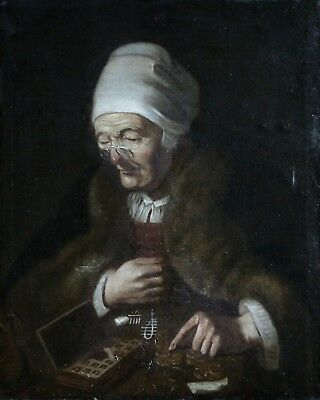 c.1700 DUTCH OLD MASTER OIL CANVAS - THE MISER - WOMAN COUNTING MONEY - SIGNED